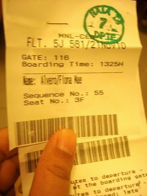 My ticket. Reserved a window seat for my first flight.